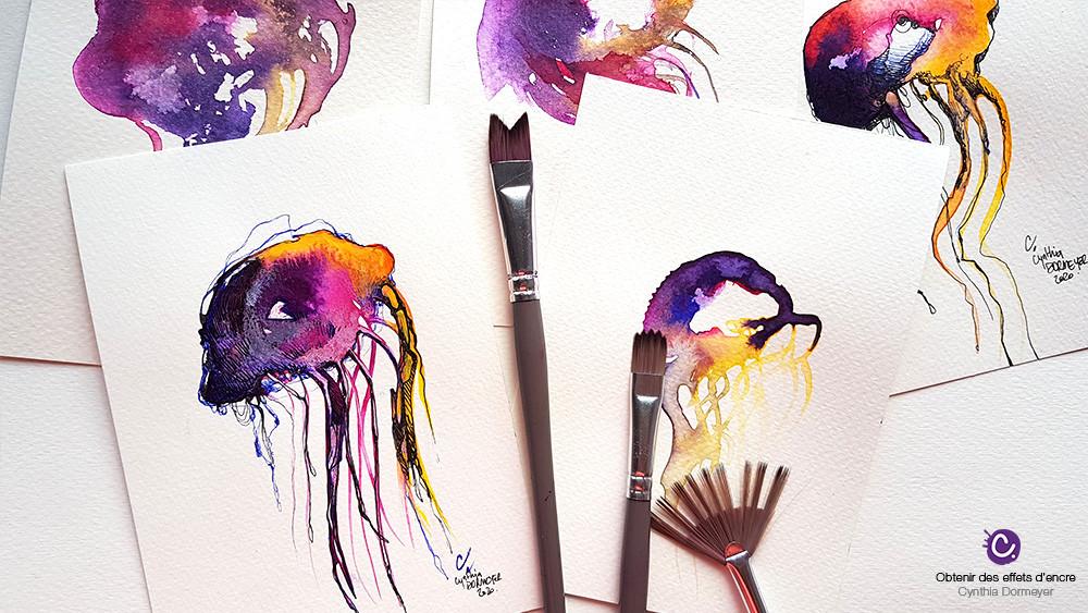 Dessins aquarelles violet et rose avec des pinceaux spéciaux