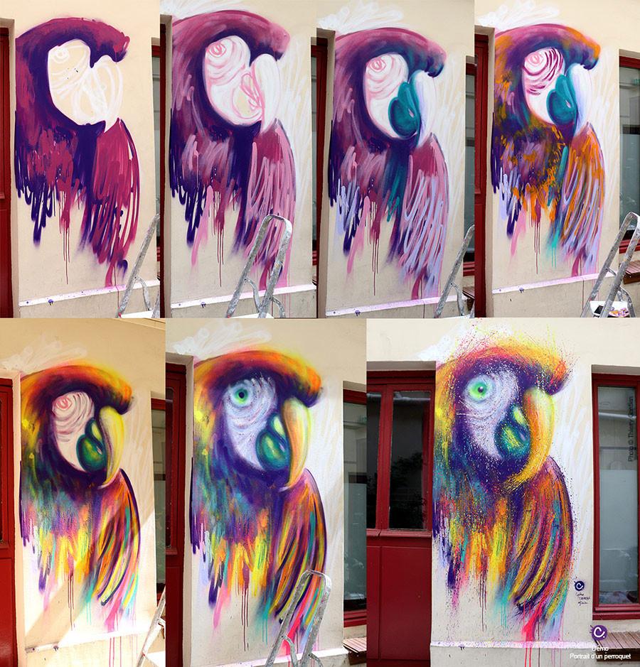 Les étapes de création d'un portrait de perroquet à l'aérosol sur mur à Paris, hostel Montclair Montmartre