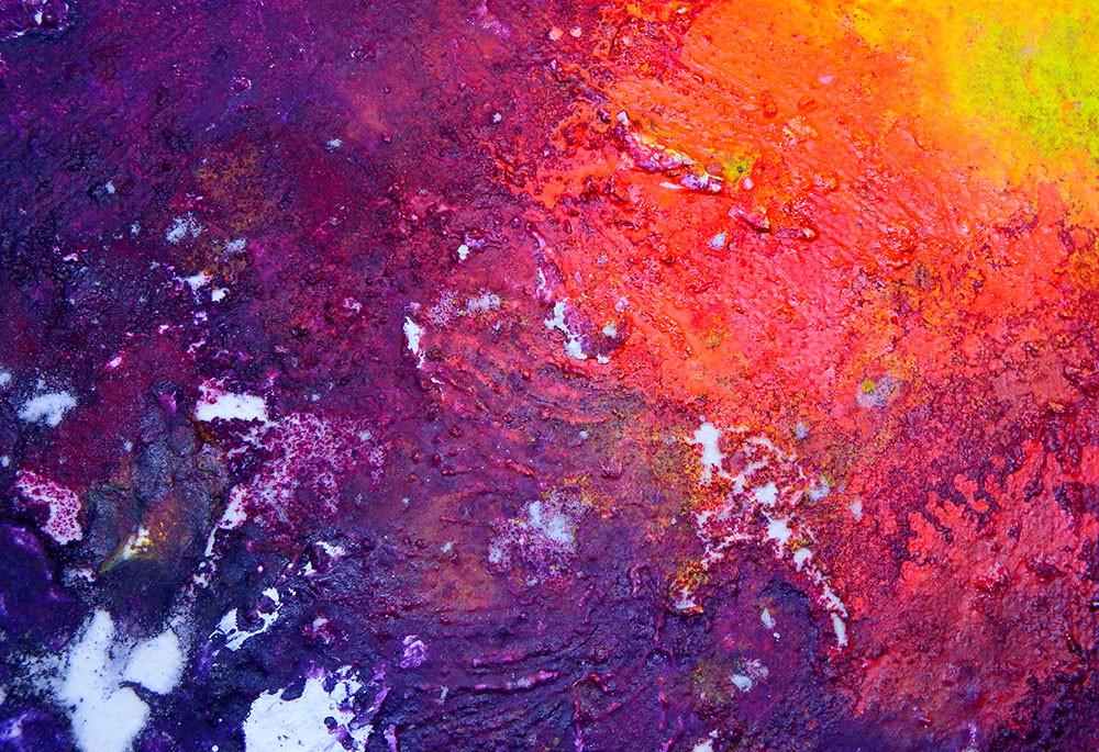 Zoom - Châssis entoilé peint en dégradé violet, rouge, jaune, avec de la farine