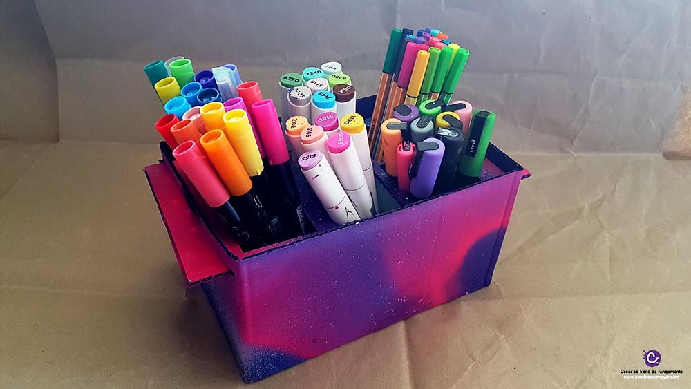Boîte de rangement en carton pour marqueurs rechargeables, Posca, Stabillo, Graph'O, Graph'It