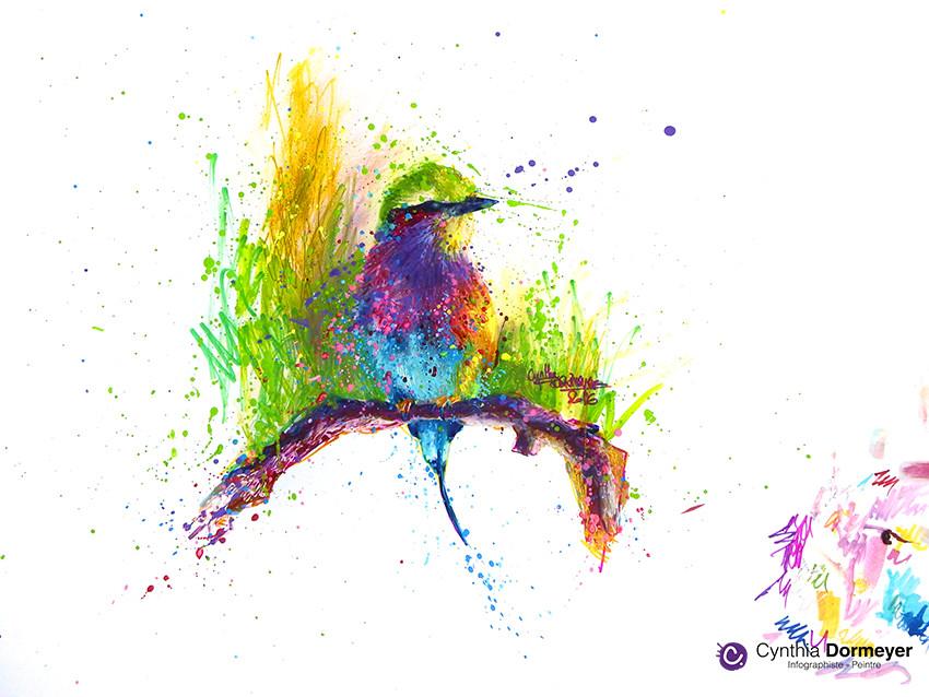 Résultat final - Dessin d'oiseau