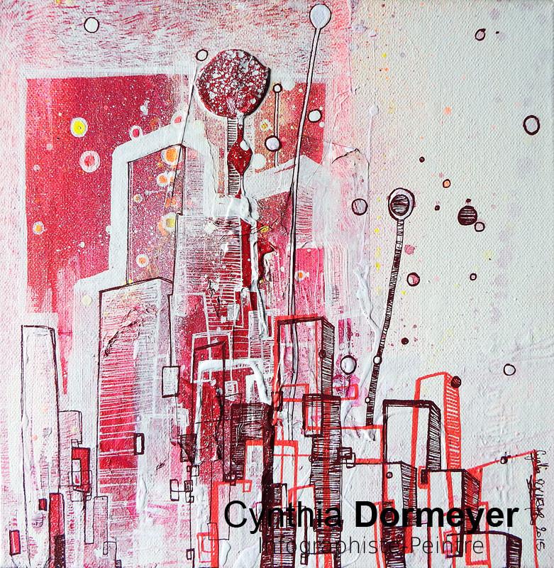 """Peinture sur toile """"City Life"""" - Posca - Cynthia Dormeyer"""
