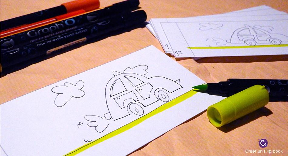 Mise en couleur du Flip book - Représente une voiture sur un sol vert. Papier et feutres GraphO