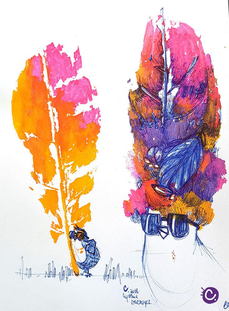 Illustration Pioupiou - Cynthia Dormeyer - Décalquer des végétaux