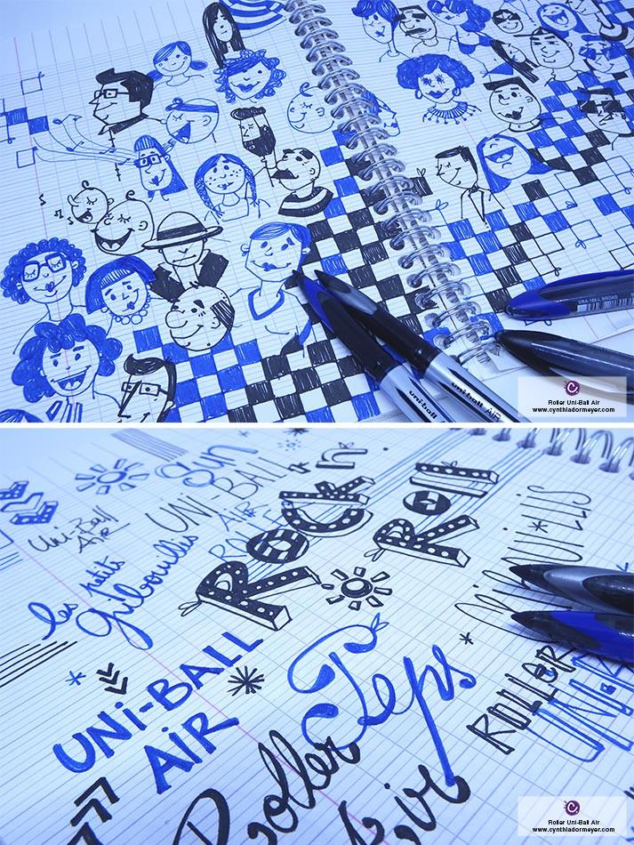 Illustration avec les stylos Roller encre liquide Uni-Ball Air