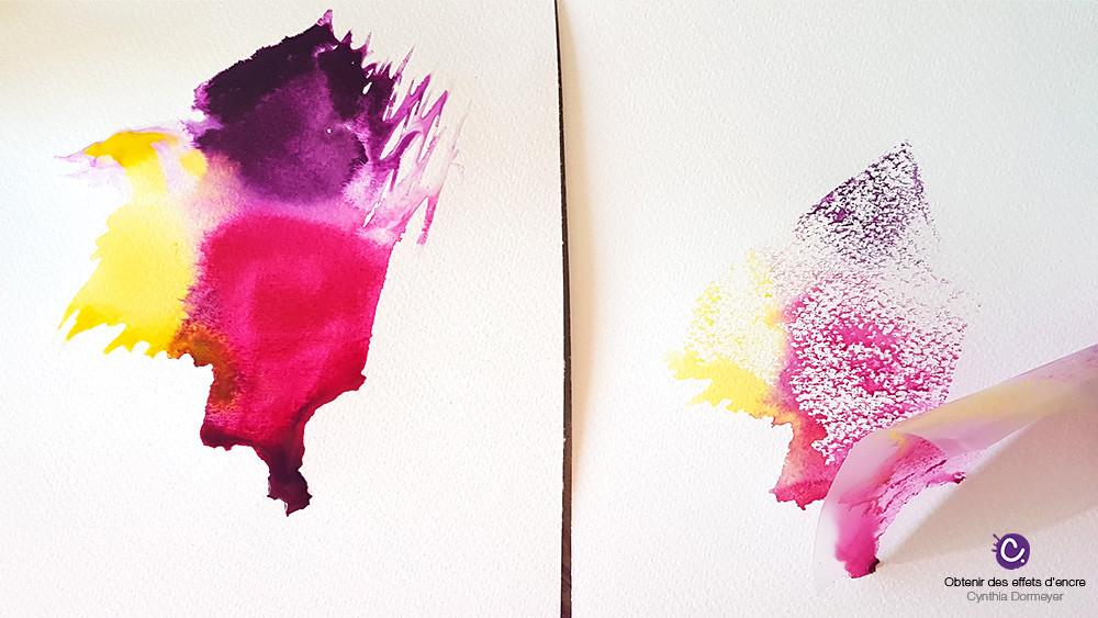 tâche d'encre aquarelle violette, rose et jaune avec du film repositionnable