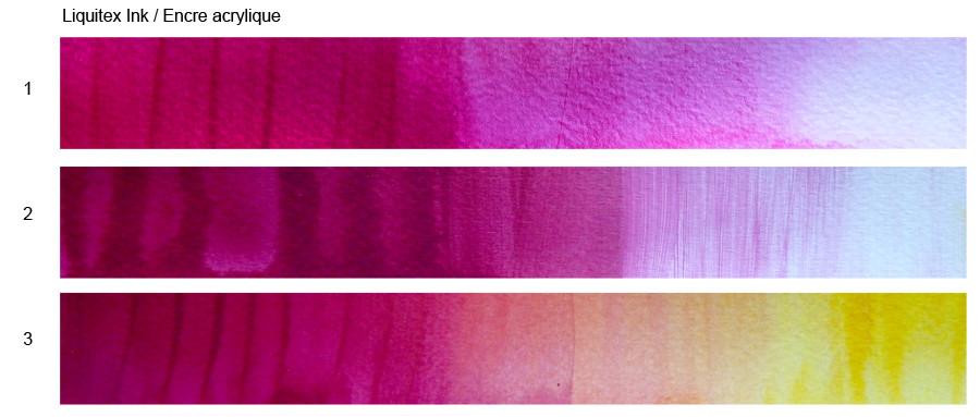 Tests couleurs avec l'encre acrylique Liquitex