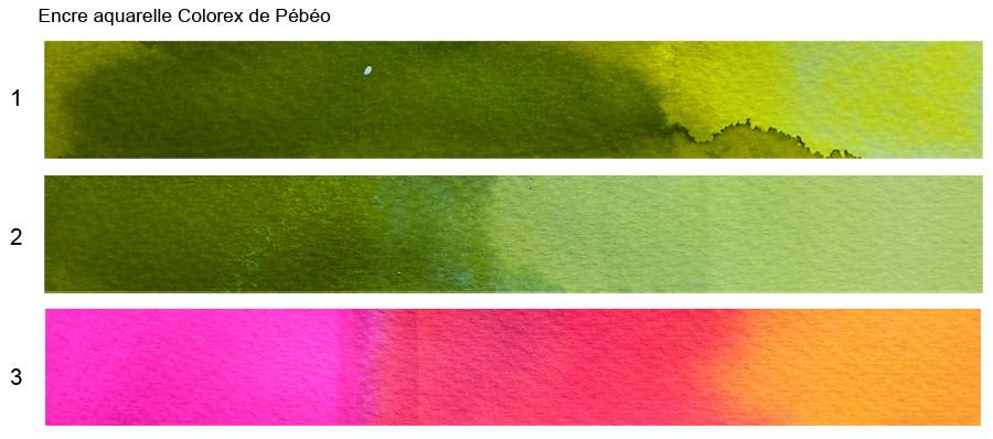 Tests couleurs encre aquarelle Colorex de Pébéo
