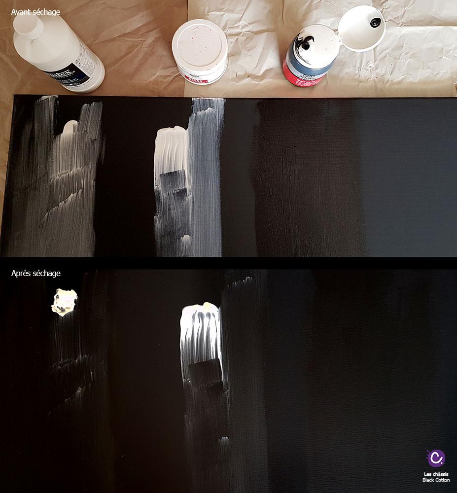 Châssis entoilé Black Cotton Honsell - Test Gesso Pébéo et Liquitex