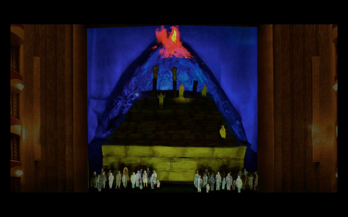 The assassin of the king is a king. Act I ends with the eruption of the volcano.