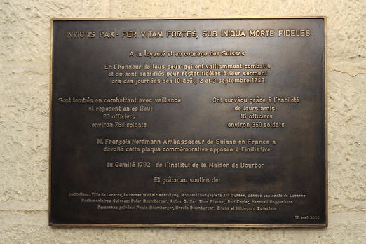 Gedenktafel für die Schweizergardisten
