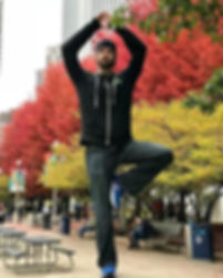In Chicago, on a post. Tree Pose, y'all.