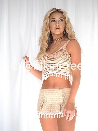 'Symi' Shell Skirt - Nude