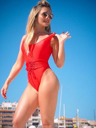 Red Corset Beach Belt