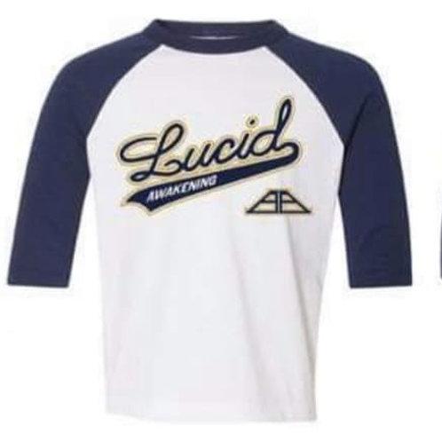 """""""Lucid Awakening"""" White/Navy Gildan Baseball Tee"""