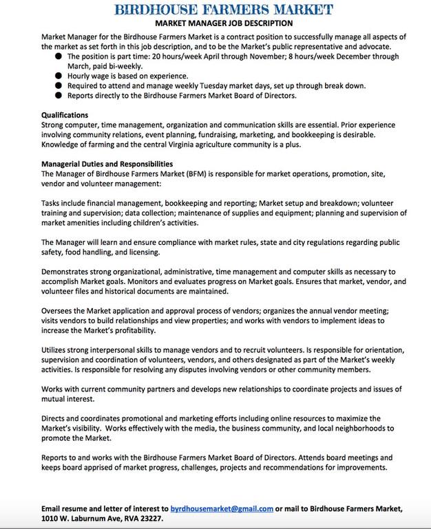 RVA Farmers Market Manager Job Opening – Event Planner Job Description