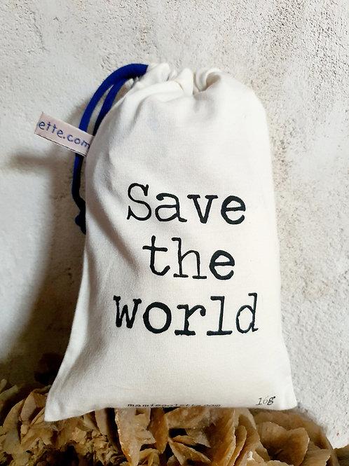 """Sac à vrac """"Save the world"""", petit 16g"""