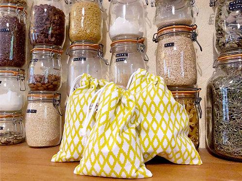 """Trio de sacs à vrac ou pochettes cadeaux """"SEVENTIES"""""""