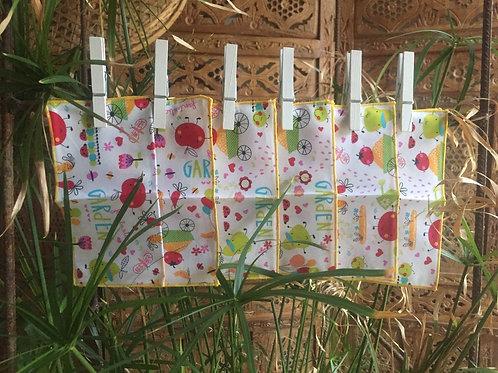 """Mouchoirs réutilisables """"Garden"""" x 6"""