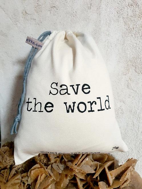 """Sac à vrac réutilisable """"Save the world"""", moyen 29g"""