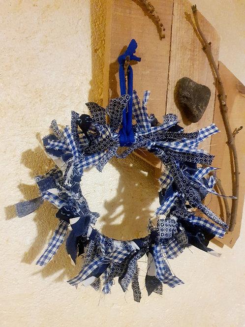 "Couronne décorative upcycling ""Blue"""