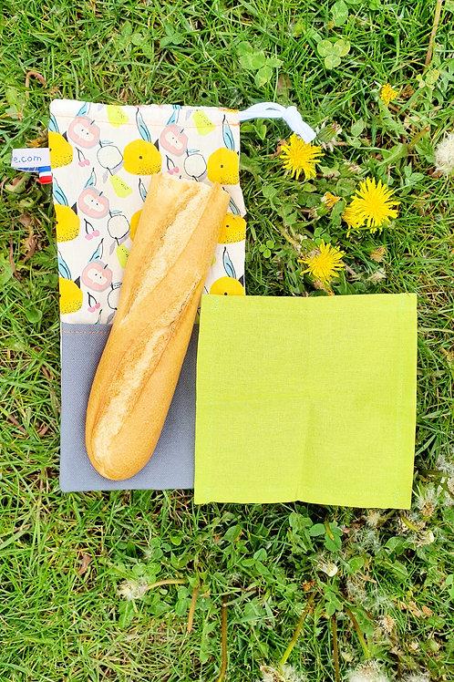 """Sac à sandwich réutilisable """"zéro déchet"""" avec sa serviette"""