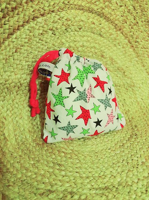 """SECONDE CHANCE,  petit sac réutilisable """"Etoiles multicolores"""""""