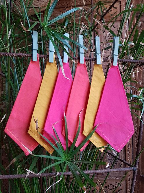 """Mouchoirs réutilisables """"Bobby Pink"""" x 6"""