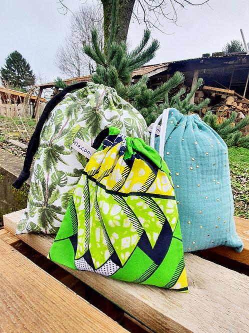 """Trio de sacs à vrac ou pochettes cadeaux """"VERT"""""""