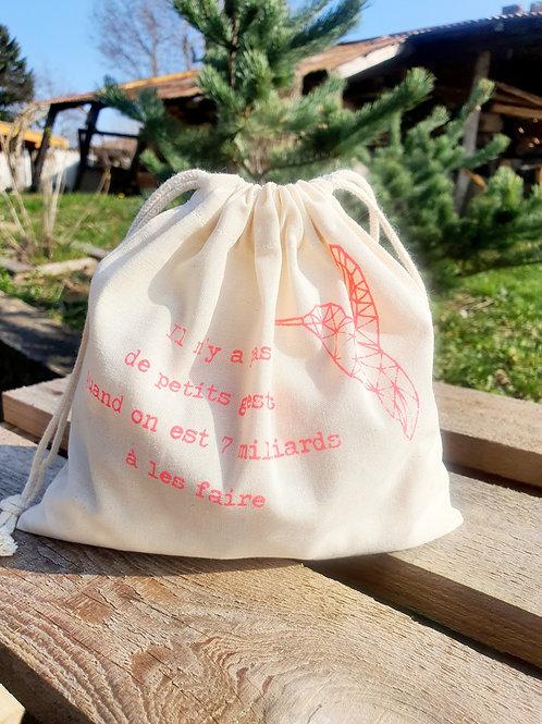 """EDITION LIMITEE, sac à vrac """"COLIBRI"""" rose fluo, moyen 26g"""