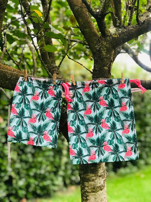 """Duo sacs à vrac réutilisables """"Pink Flamingo"""""""