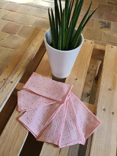 """Petites serviettes réutilisables  """"Rose Doré """" x 6"""