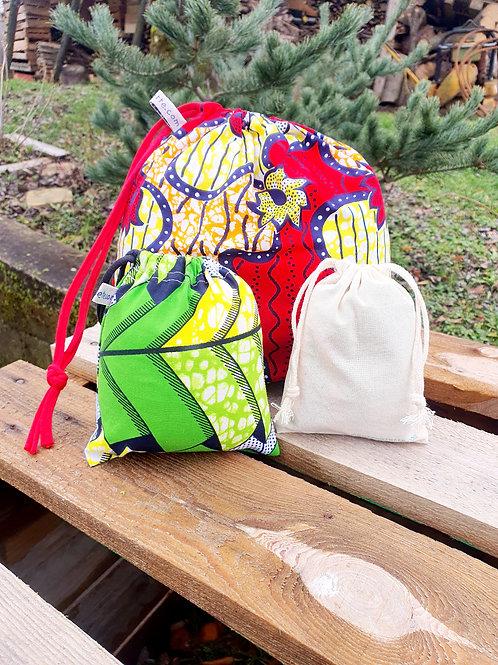 """Trio de sacs à vrac ou pochettes cadeaux """"WAX"""""""