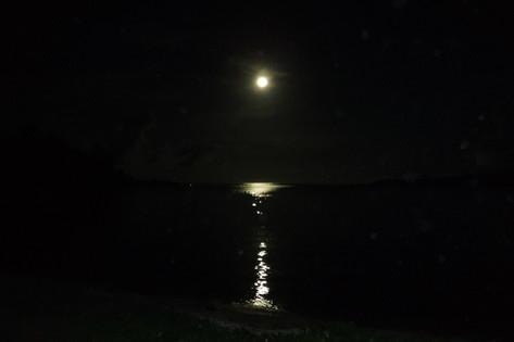 美しい満月の夜 夜ライトが光っているのは何ですか?
