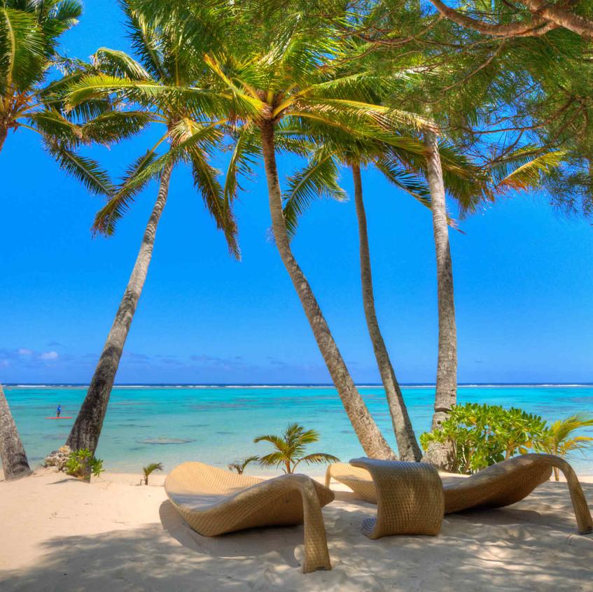Sunloungers on Beach_little polynesian