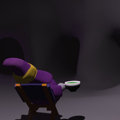 Saundaman drinking tea in a cave