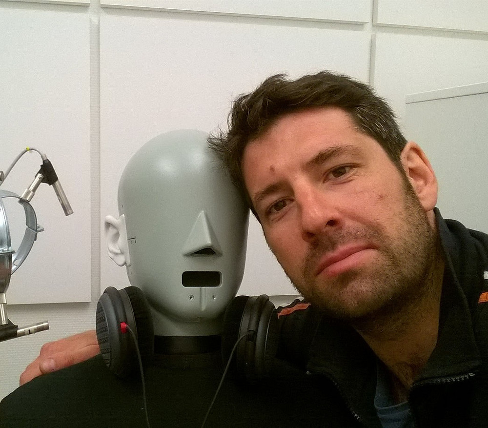 David (right) with his listening robot friend (left)
