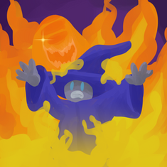A wizard in flames
