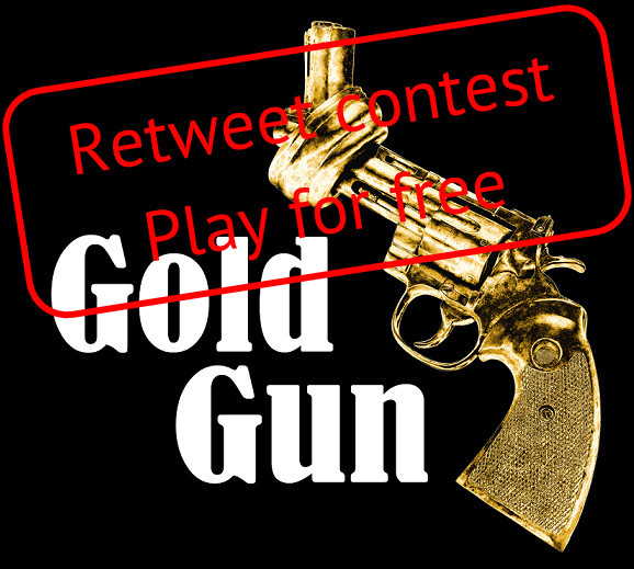 Logo of GoldGun, an audiogame by myTrueSound, retweet contest to play for free, in app stores from 31 January 2019