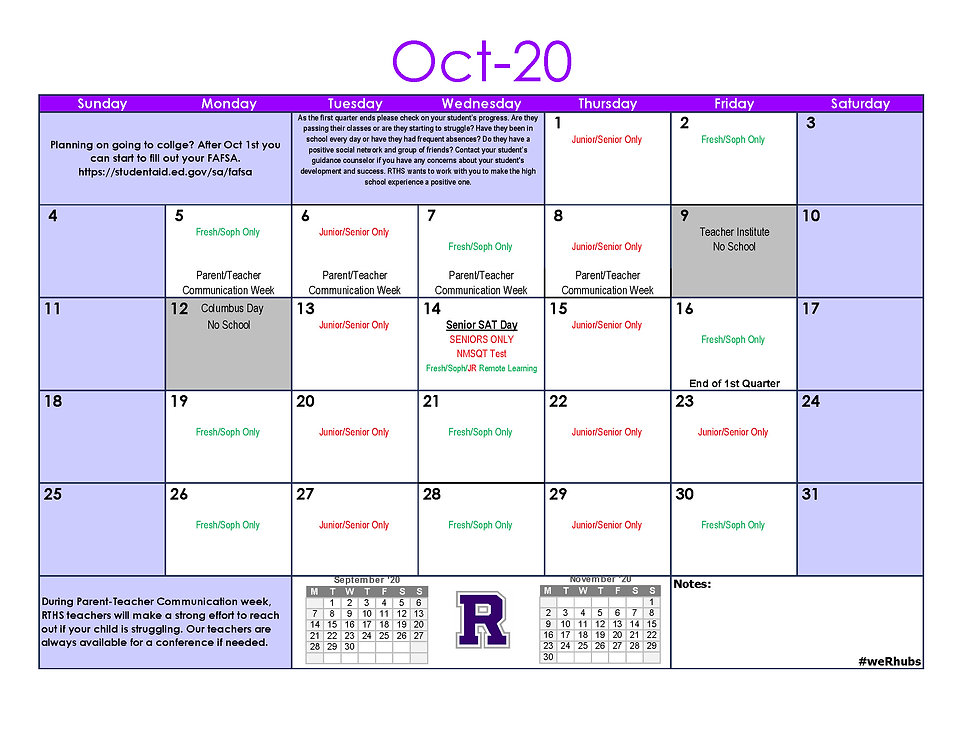 2020-2021 RTHS September-October Updated