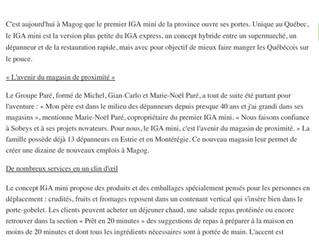 Le tout premier IGA mini du Québec ouvre ses portes à Magog