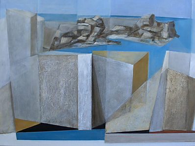Abstract painting ofald harbour wall at Kleinmond