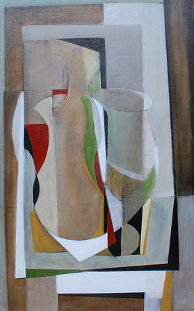 Stillife 1, January 2018 showing intertwined bottles and jugs on a table