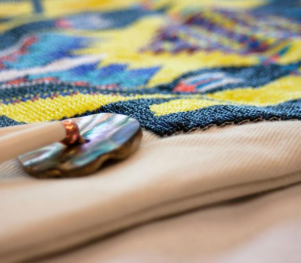 A loom-beaded pipebag by artist David Martin