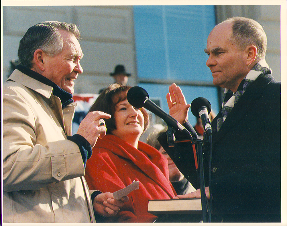 Lt. Governor Joe Kernan sworn into office by his father
