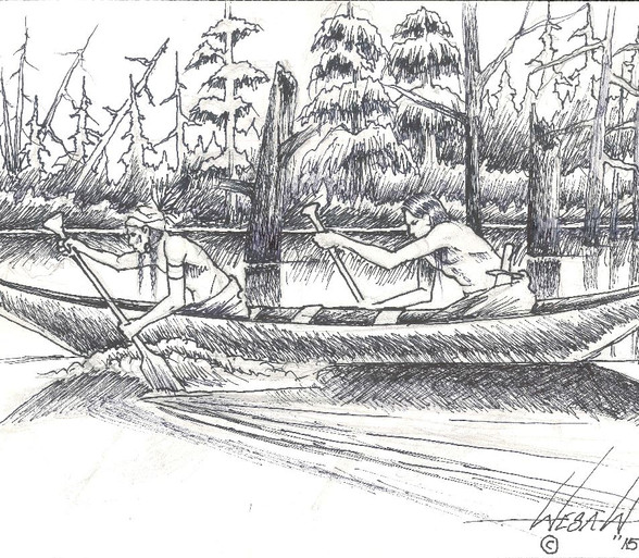 Drawing by artist Sylvester Wesaw titled '2 Men in a Canoe'