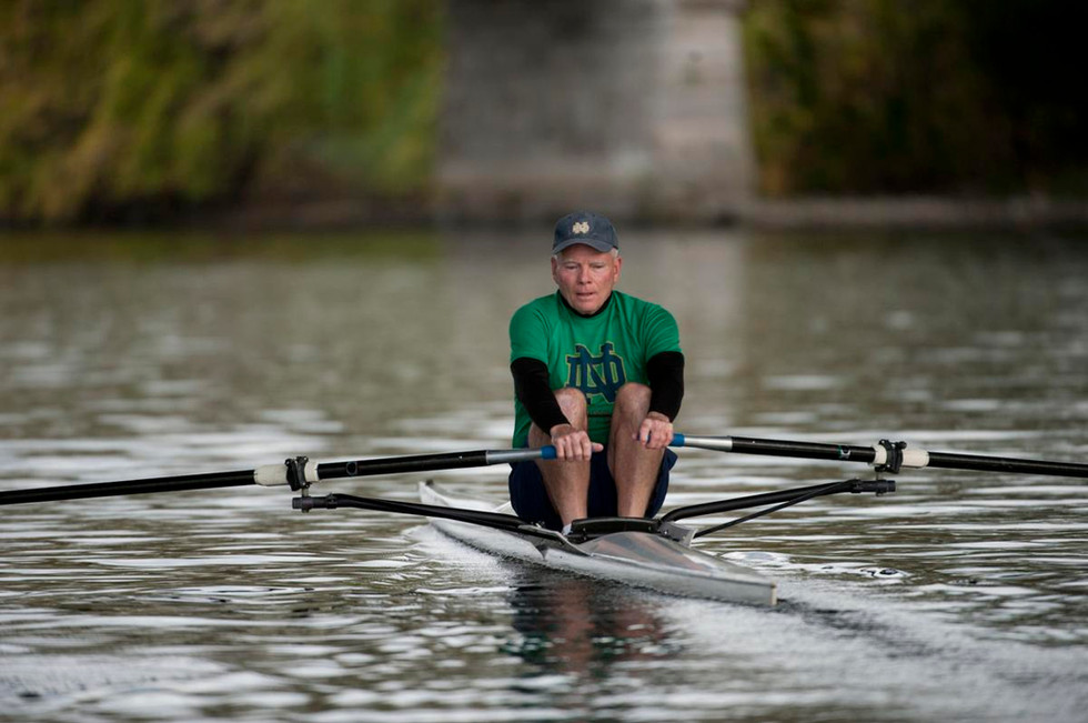 Joe Kernan rowing on the St. Joseph River