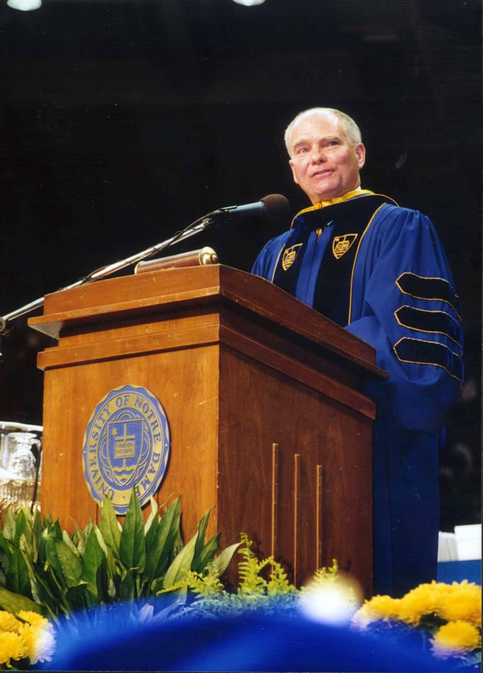 Indiana Lt. Governor Joe Kernan speaks at Notre Dame Commencement, 1998