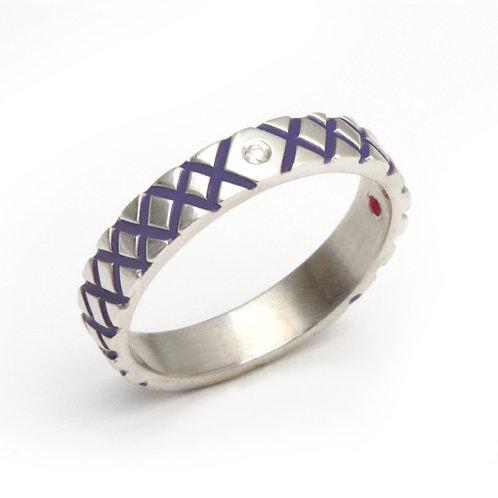 Diamond Stacking Ring in Purple Enamel