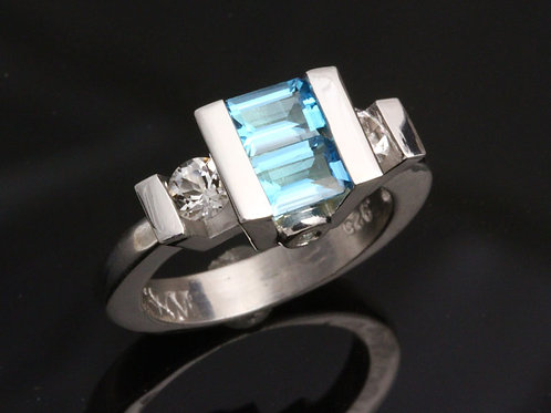 Dual Swiss Blue Topaz Ring